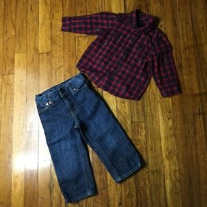 Boys 2 Piece Baby Gap Button Down Shirt and Jeans